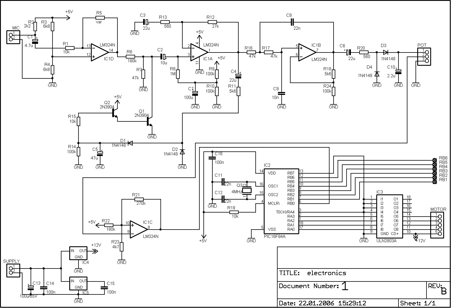 Pic16f84a Discolight Effect With Bass Beat Control Circuit Diagrams Free Electronics Circuits Projects