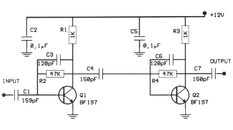 20db vhf amplifier    circuit diagrams